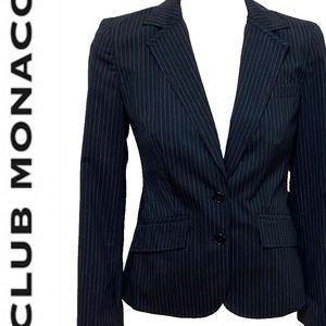 Club Monaco wool navy blue pinstripe blazer Size 4